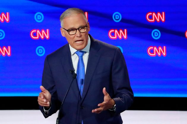 Washington Gov. Jay Inslee, pictured at Wednesday's Democratic debate, was the first governor to condemn...