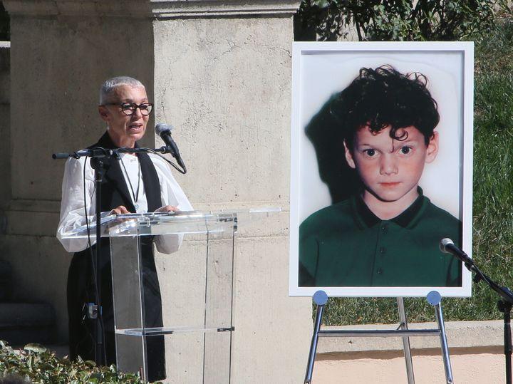 Irina Yelchin, actor Anton Yelchin's mother, speaks at the Anton Yelchin life celebration and statue unveiling ceremony at Ho