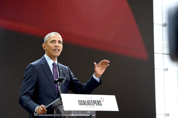 Obama speaks at Goalkeepers 2017, at Jazz at Lincoln Center in New York City.
