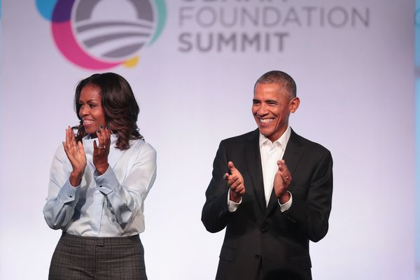 Former first Lady Michelle and former president Barack Obama are introduced at the inaugural Obama Foundation Summit in Chica