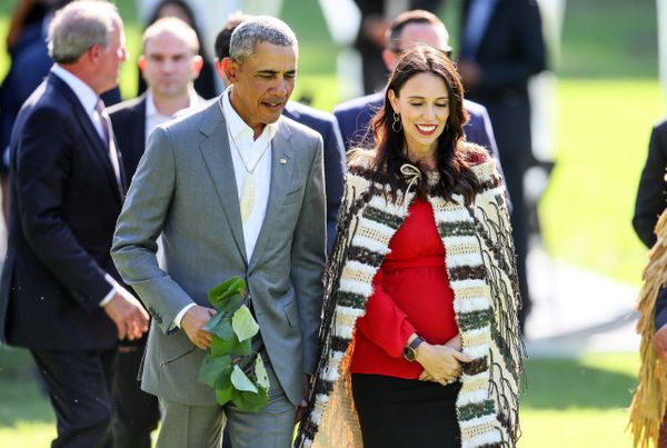 Obama attends a powhiri with New Zealand prime minister Jacinda Ardern.