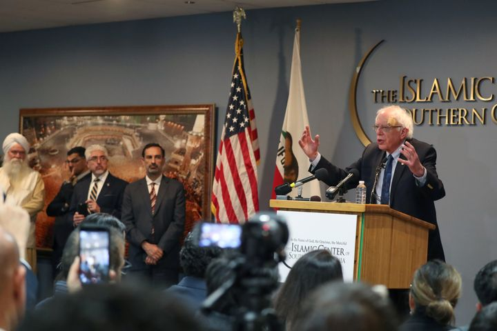 Sen. Bernie Sanders speaks after meeting with interfaith leaders at the Islamic Center of Southern California in Los Angeles