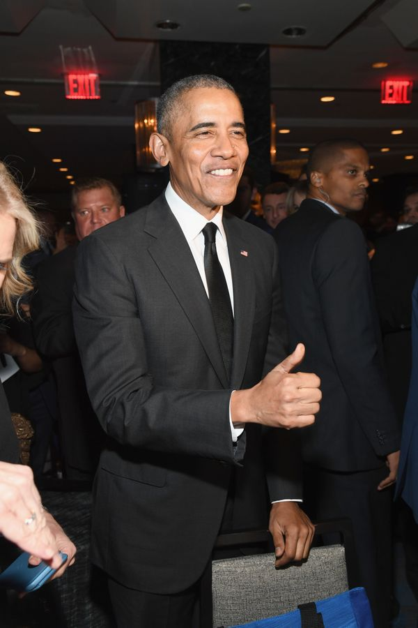Obama attends the 2019 Robert F. Kennedy Human Rights Ripple Of Hope Awards.
