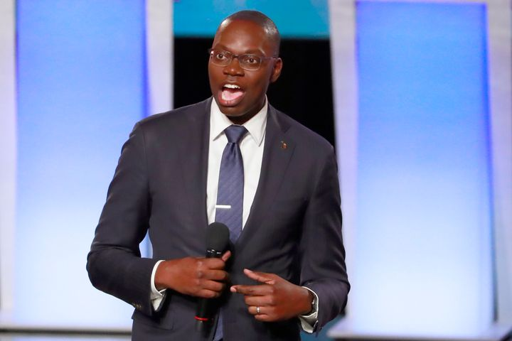 Michigan Lt. Gov. Garlin Gilchrist fired up the crowd before the Wednesday night debate among Democratic presidential candida