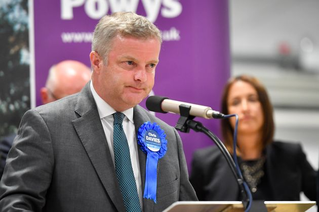Ousted Tory MP Chris Davies was not re-elected to the mid-Wales
