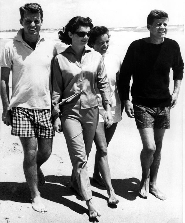 The Kennedys: Robert, Jackie, Ethel and John relaxing on the beach in
