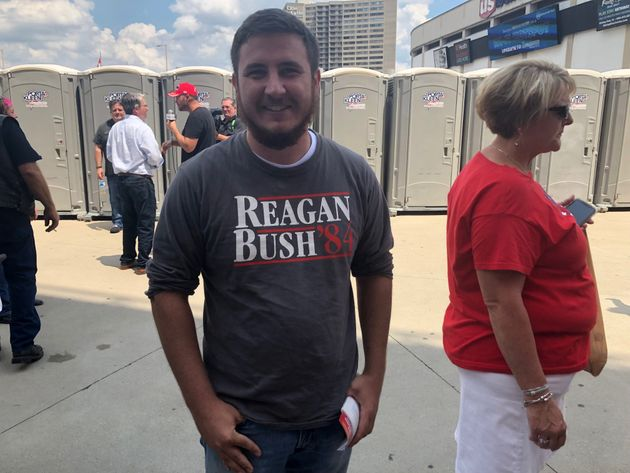 David Jenkins waits to get inside a Trump rally at U.S. Bank Arena in Cincinnati, Ohio on Aug. 1,