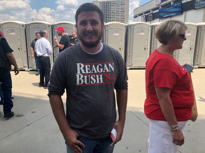 David Jenkins waits to get inside a Trump rally at U.S. Bank Arena in Cincinnati, Ohio on Aug. 1, 2019.