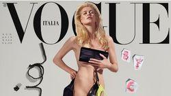 Claudia Schiffer pose nue pour les 25 ans de sa première couverture de