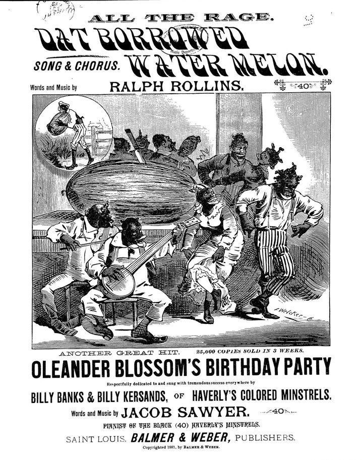 """La partition d'une chanson de 1881 intitulée """"La pastèque empruntée"""" reprend """"le cliché du Noir joyeux qui adore la pastèque,"""" explique le Dr Williams-Forson."""
