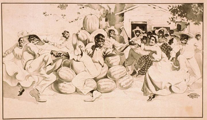 "This 1900 lithograph is called ""African Americans dancing around a pile of watermelons."""