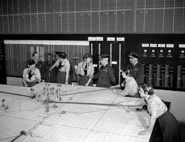 The RAF underground operations room at Uxbridge, which was the nerve centre of fighter command during...