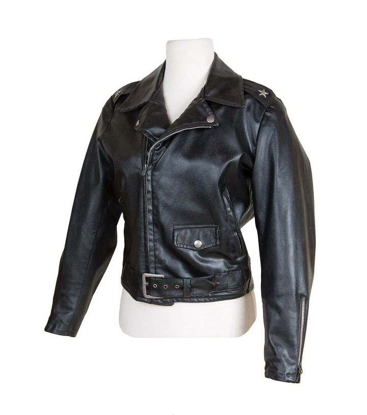 "A close-up of Newton-John's jacket from ""Grease."""