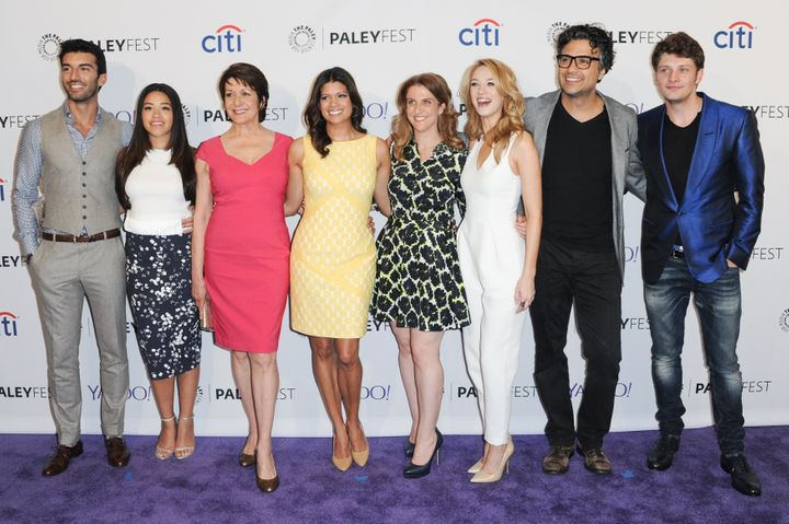From left: Justin Baldoni, Gina Rodriguez, Ivonne Coll, Andrea Navedo, Jennie Snyder Urman, Yael Grobglas, Jaime Camil and Br
