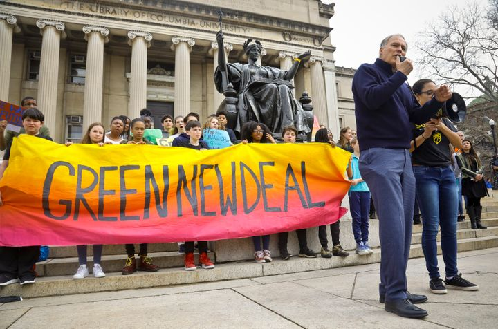 Washington Gov. Jay Inslee speaks on March 15 at Columbia University's student climate strike in New York City.