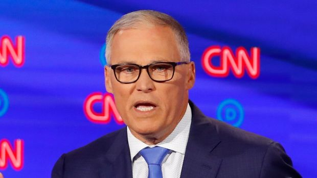 Washington Gov. Jay Inslee speaks during the second of two Democratic presidential primary debates hosted by CNN Wednesday, July 31, 2019, in the Fox Theatre in Detroit. (AP Photo/Paul Sancya)