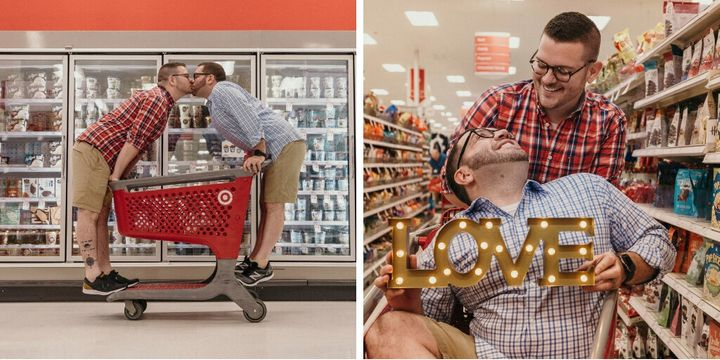 Aaron Damron and Tony DiPasqua took their engagment photos at a place near and dear to their hearts: Target.