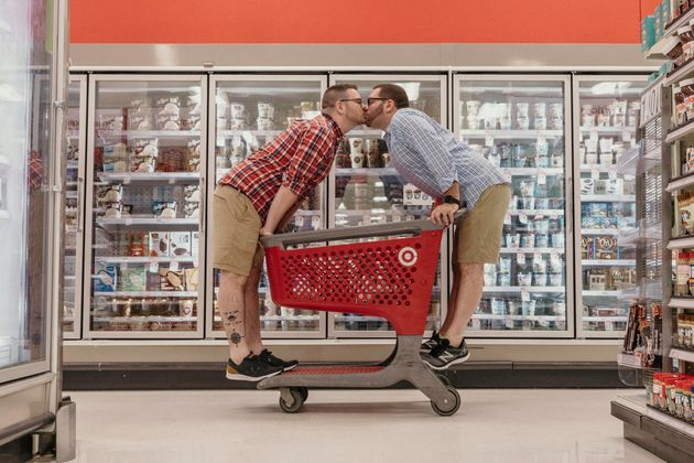 The couple made use of props in the store, including the