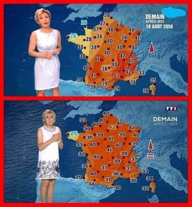 유럽에서 소셜미디어를 통해 확산되고 있는 2019년과 2050년 여름 기온 예보 화면 비교 사진. '인디펜던트'에서