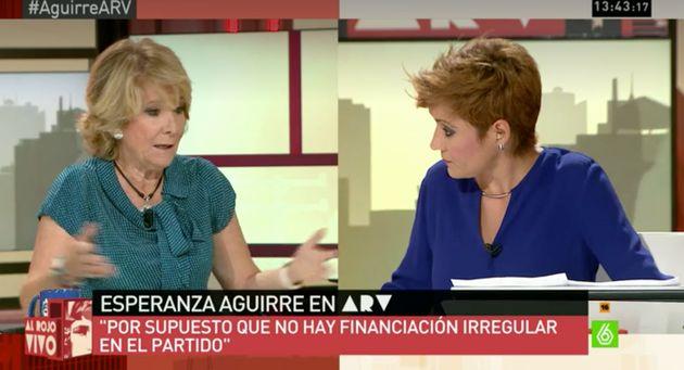 Esperanza Aguirre y Cristina Pardo en 'Al Rojo