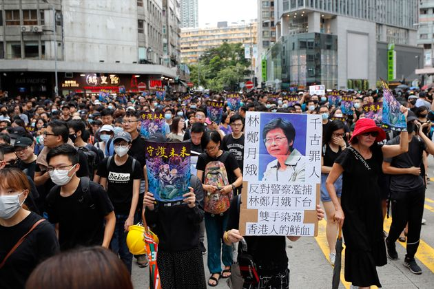 Protestors marching in Hong Kong on