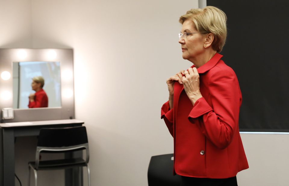 Sen. Elizabeth Warren of Massachusetts backstage at the forum.