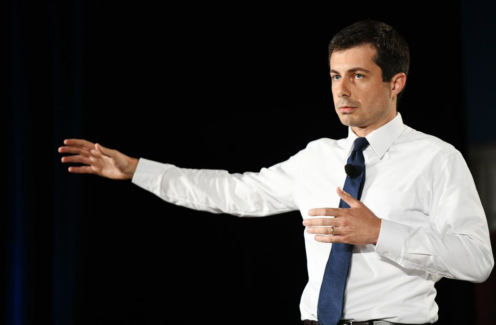 South Bend, Indiana, Mayor Pete Buttigieg discusses his positions at the forum.
