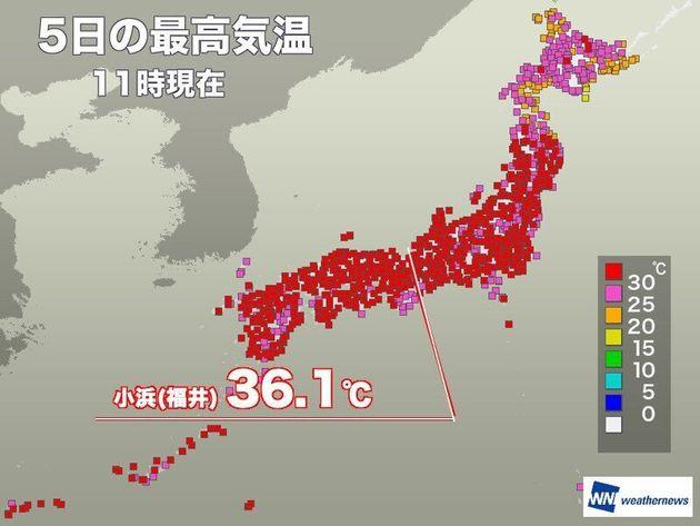 各地で35℃を超える猛暑日に 週明けも暑さ継続