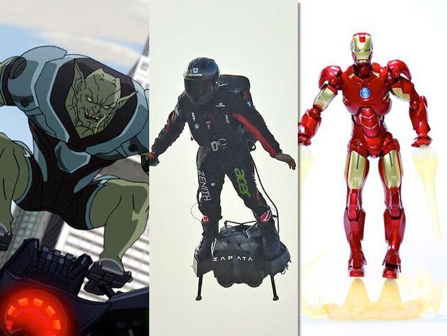 左からスパイダーマンに登場するグリーンゴブリン、フライボード、アイアンマン