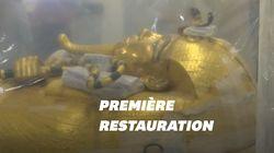 L'Égypte dévoile des images d'un sarcophage de Toutânkhamon en