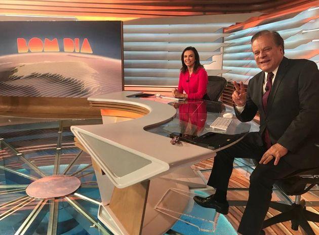 Os apresentadores do Bom dia Brasil, Ana Paula Araújo e Chico Pinheiro no novo cenário...