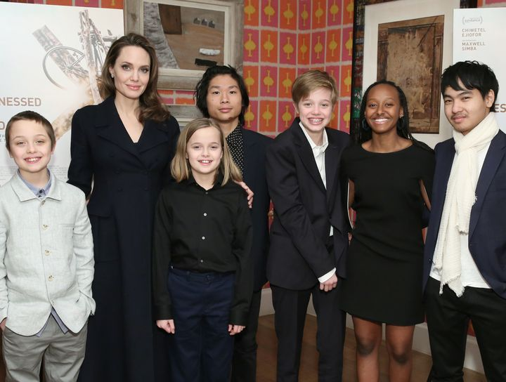 """Jolie and her six children attend a screening of""""The Boy Who Harnessed the Wind"""" in New York City in February.&nb"""