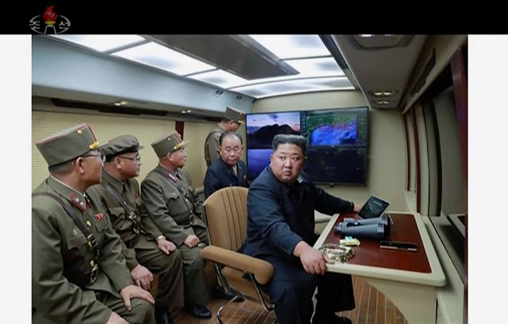 In this image made from video of a still image broadcasted by North Korea's KRT on Thursday, Aug. 1, 2019, North Korean leade