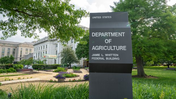Washington DC - May 9, 2019: Sign for the US Department of Agriculture Jamie L Whitten Federal Building, located on the National Mall area, USA