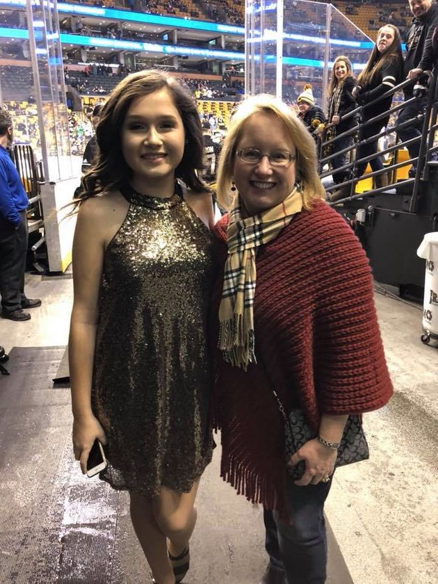 Nicole, with Jeanne, the night she sang the National Anthem at TD Garden in front of 19,00 Boston Bruins...