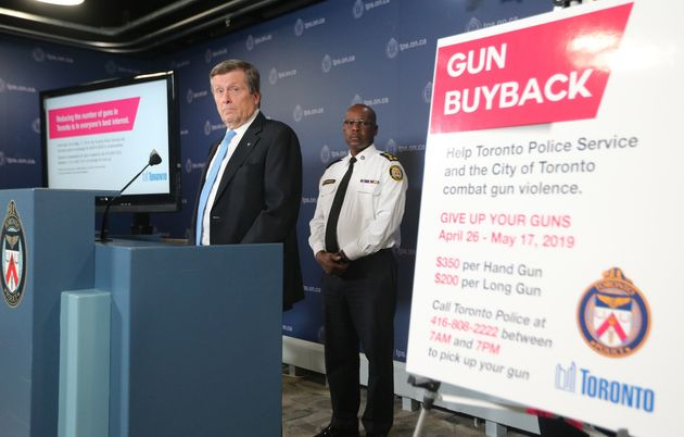 Toronto police Chief Mark Saunders and Mayor John Tory announced a gun buyback program for residents...