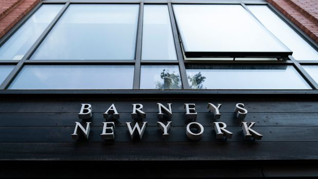 NEW YORK, NY - JULY 15: Signage for Barneys New York hangs above the entrance to the store in Brooklyn Heights, July 15, 2019 in New York City. According to news reports, Barneys New York, an American chain of luxury department stores, is considering a bankruptcy filing, citing struggles with high rents and changing consumer tastes. (Photo by Drew Angerer/Getty Images)