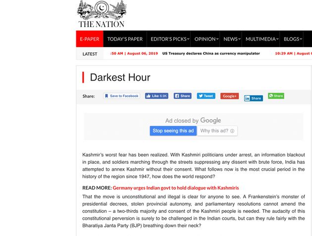 'Darkest Hour': What Pakistan's Media Said About Scrapping Of Article