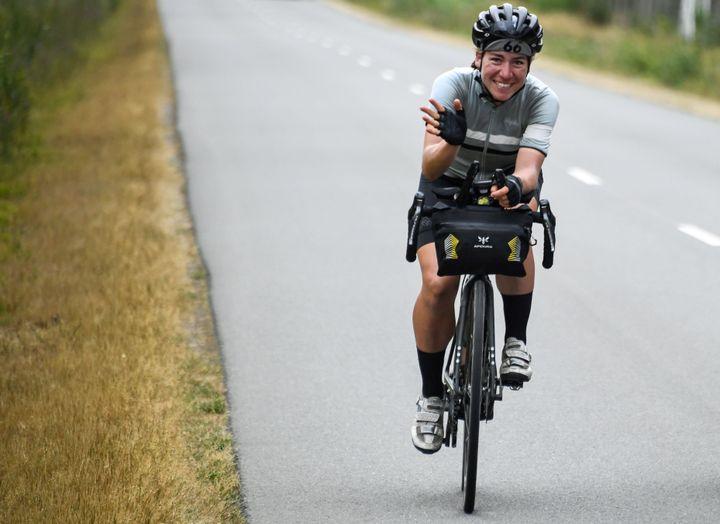La cycliste Fiona Kolbinger pendant la Transcontinental Race 2019.