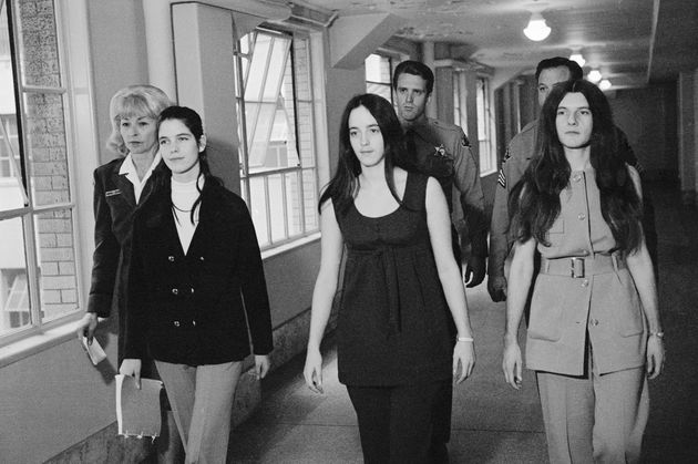 Left to right: Leslie Van Houten, Susan Atkins, and Patricia