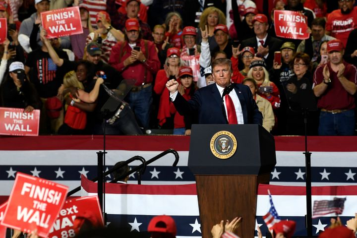 President Trump speaks during a rally in El Paso, Texas, in February. The Trump campaign still owes the city of El Paso more