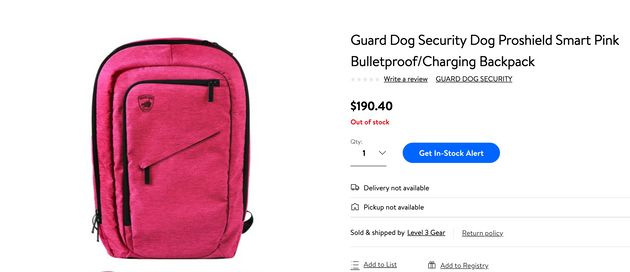 This pink bulletproof backpack at Walmart was sold out when HuffPost Canada searched for it on Aug.