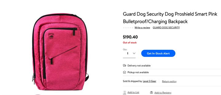 This pink bulletproof backpack at Walmart was sold out when HuffPost Canada searched for it on Aug. 6.