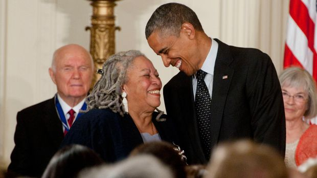 WASHINGTON, DC - MAY 29: Toni Morrison receives the Presidential Medal of Freedom from President Barack Obama in the East Room of the White House on May 29, 2012 in Washington, DC. (Photo by Leigh Vogel/WireImage)