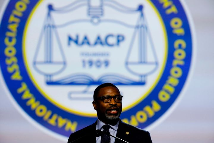 Derrick Johnson, president and CEO of the NAACP, addresses the organization at its national convention in July 2019.
