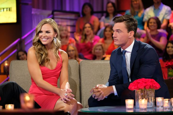 "Hannah Brown and Tyler Cameron on ""The Bachelorette."""