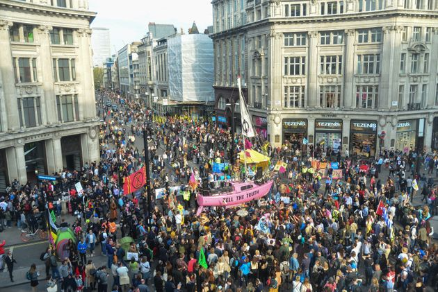 Oxford Circus during the protests in London in
