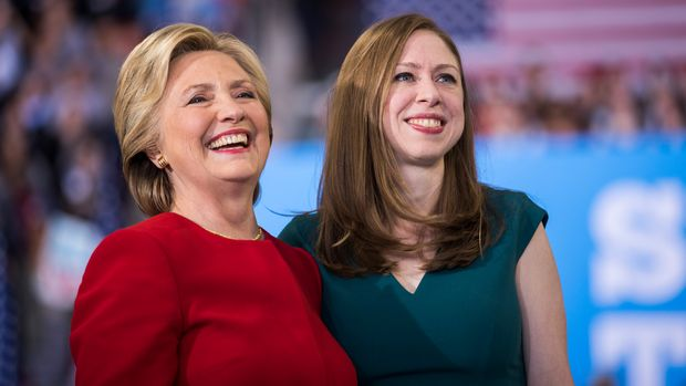 RALEIGH, NC - NOVEMBER 08:  Democratic presidential nominee Hillary Clinton with her daughter Chelsea Clinton at a rally November 8, 2016 in Raleigh, North Carolina.  The final rally of her 2016 campaign started just before 1 am on Election Day.  (Photo by Brooks Kraft/Getty Images)