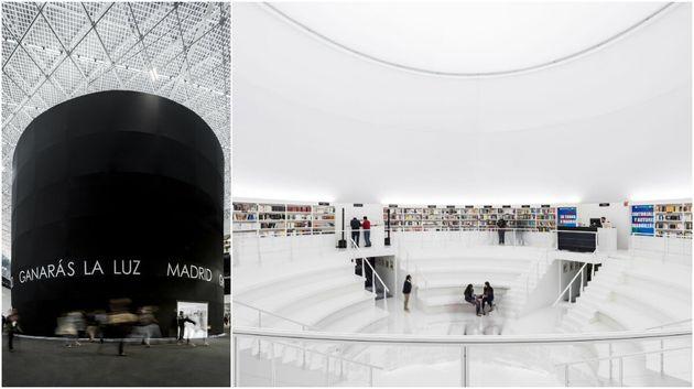 Exterior e Interior del Pabellón de Madrid en la Feria Internacional del Libro de Guadalajara...