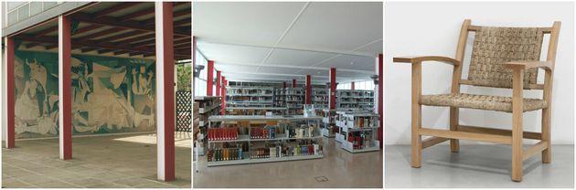 Exteriores (Fotos: Dídac Guxens) y biblioteca (Foto: UB) del Pabellón de La República...